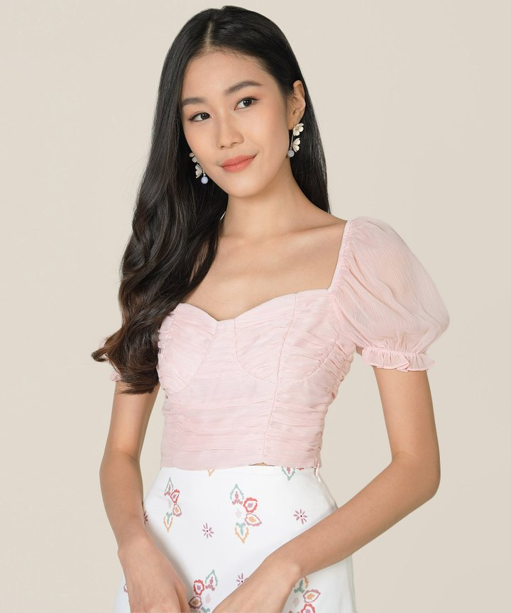 Esmire Ruched Cropped Top - Ballerina Pink