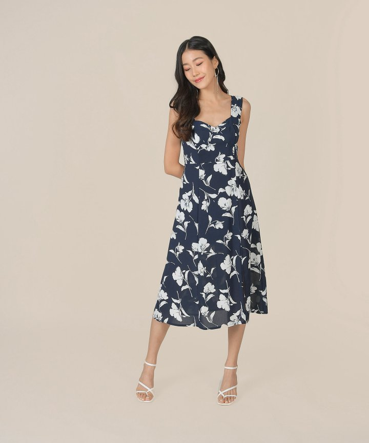 Freja Floral Midi Dress - Navy