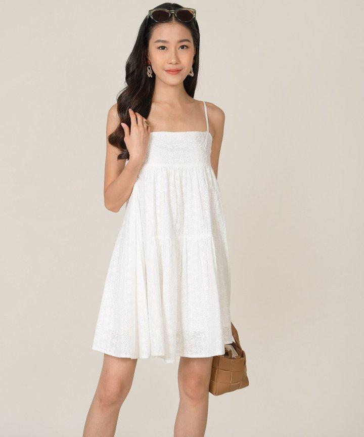 HVV Atelier Dulce Eyelet Babydoll Dress - White