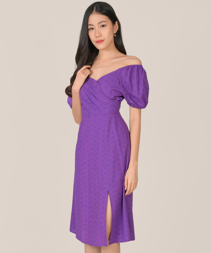 HVV Atelier Gracie Eyelet Wrap Midi Dress - Hyacinth