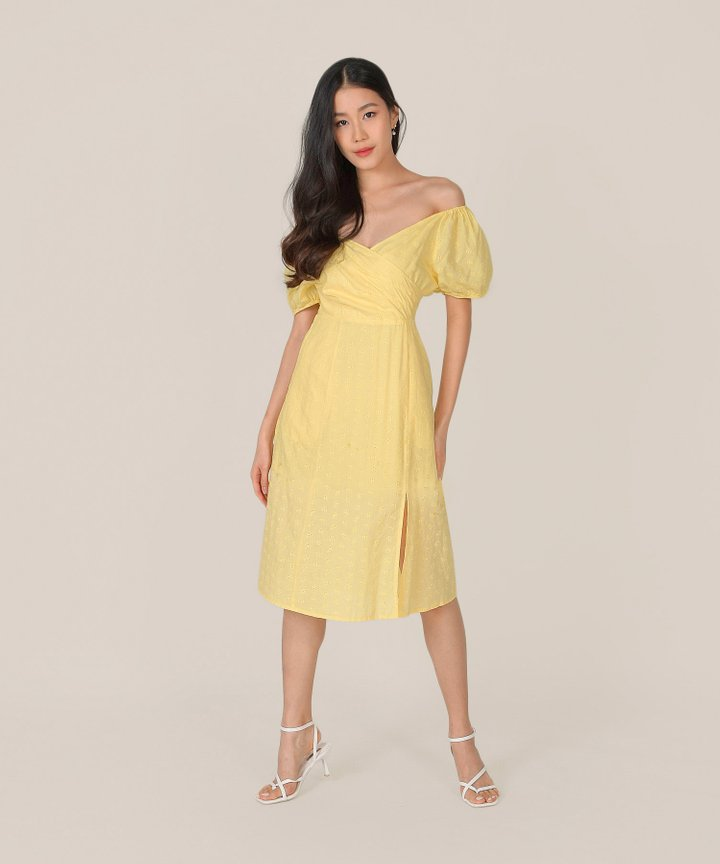 HVV Atelier Gracie Eyelet Wrap Midi Dress - Lemon