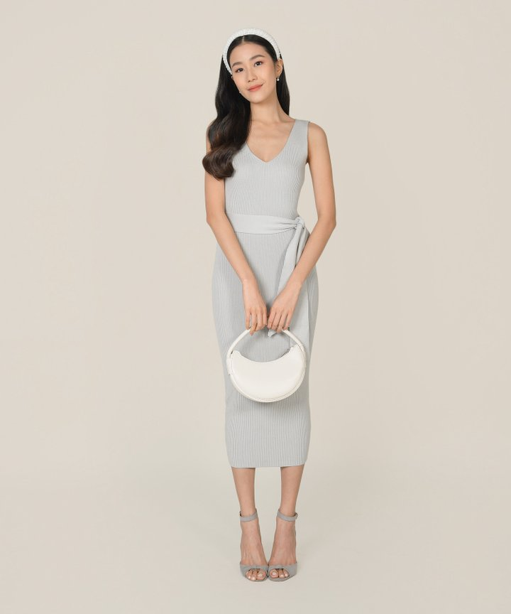Keane Ribbed Knit Bodycon Midi Dress - Pebble