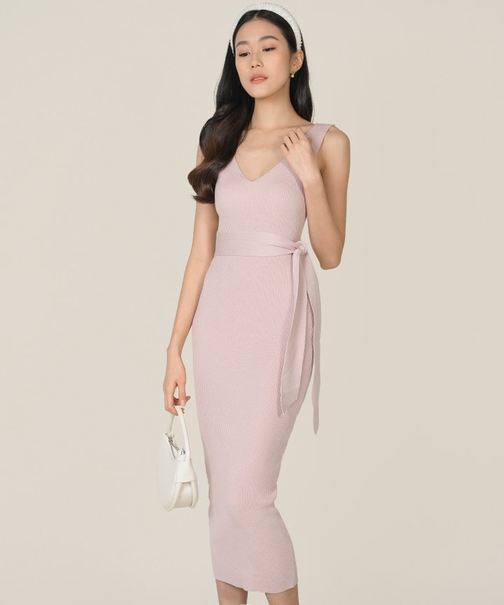 Keane Ribbed Knit Bodycon Midi Dress - Rose Ash