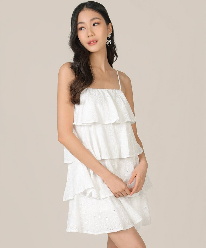 Mischa Eyelet Tiered Dress - White