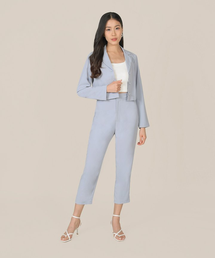 Prescott Cropped Jacket - Hydrangea Blue