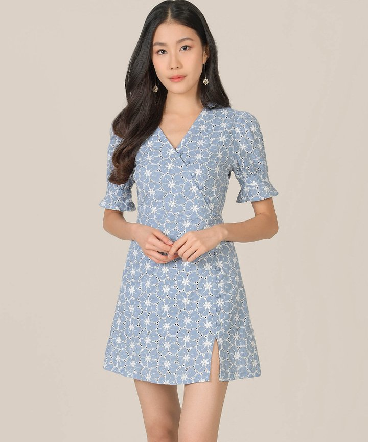 Prism Embroidered Floral Wrap Dress - Cornflower Blue