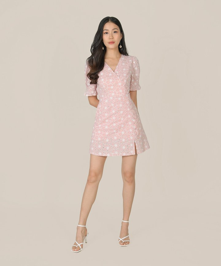 Prism Embroidered Floral Wrap Dress - Rosewater