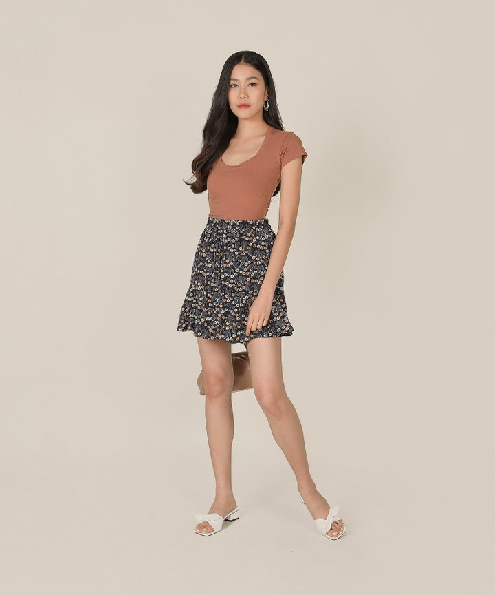 Ramona Basic Cropped Top - Coral Clay