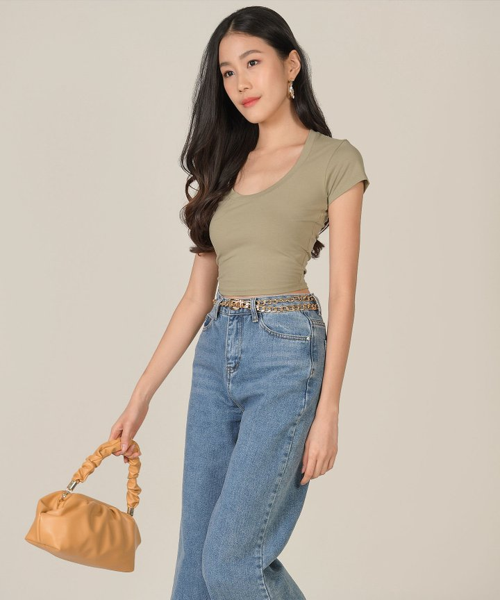 Ramona Basic Cropped Top - Misty Glen