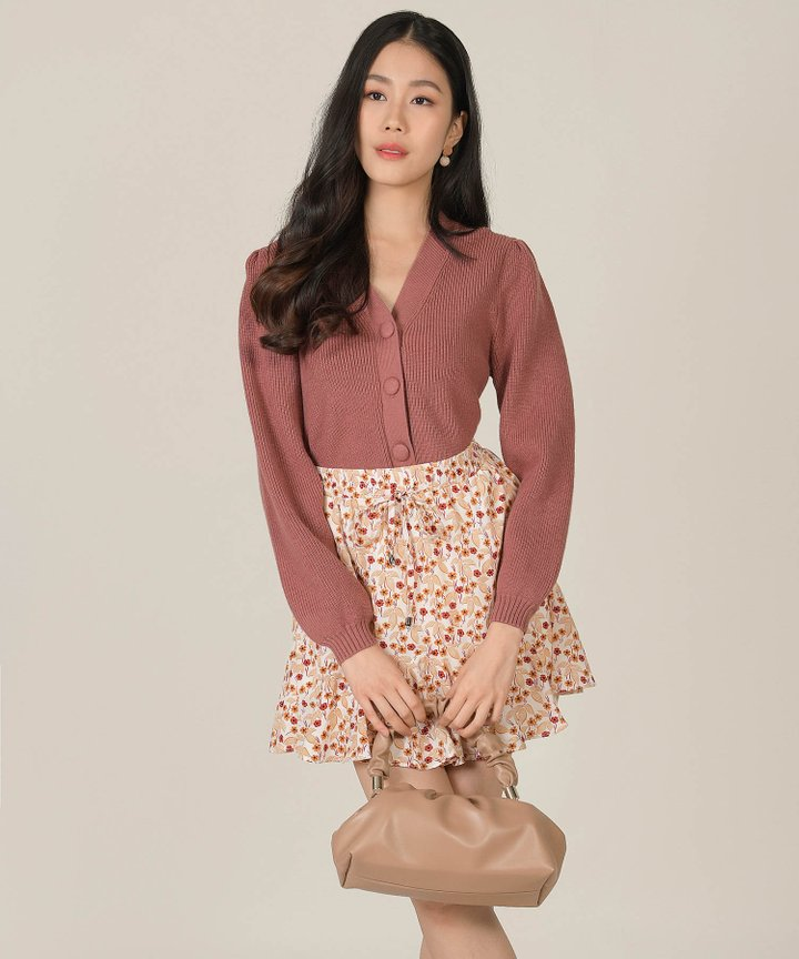 Roksanne Knit Button Down Sweater - Rosewood