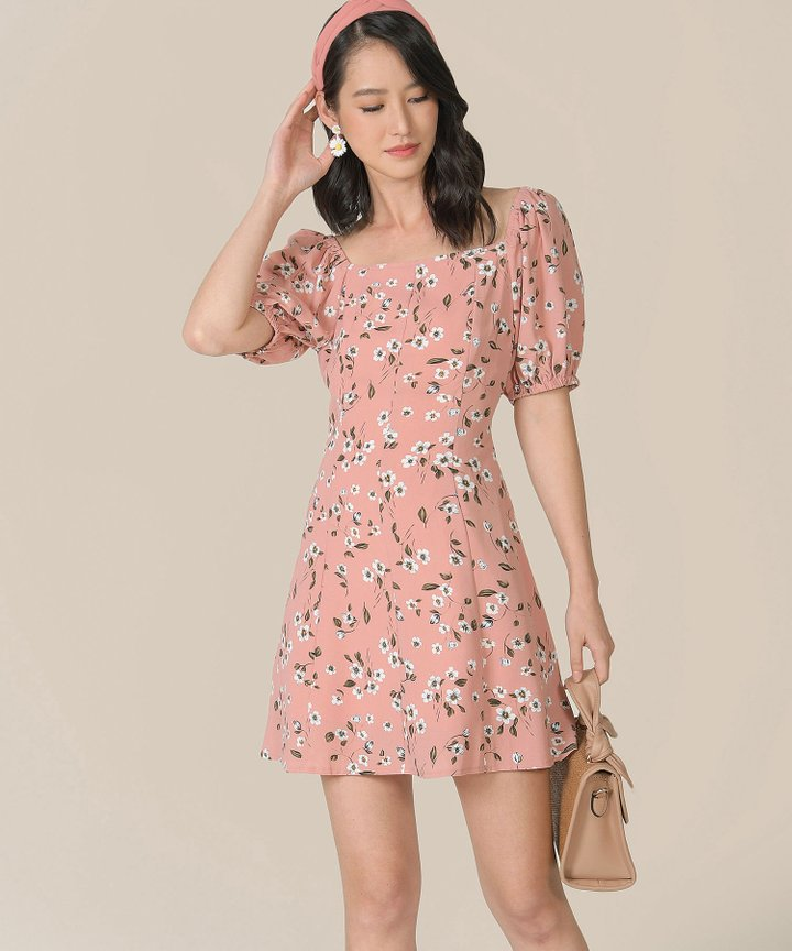 Ruth Floral Dress - Blush Pink