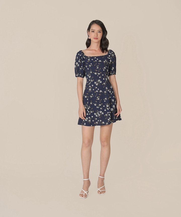 Ruth Floral Dress - Midnight Blue