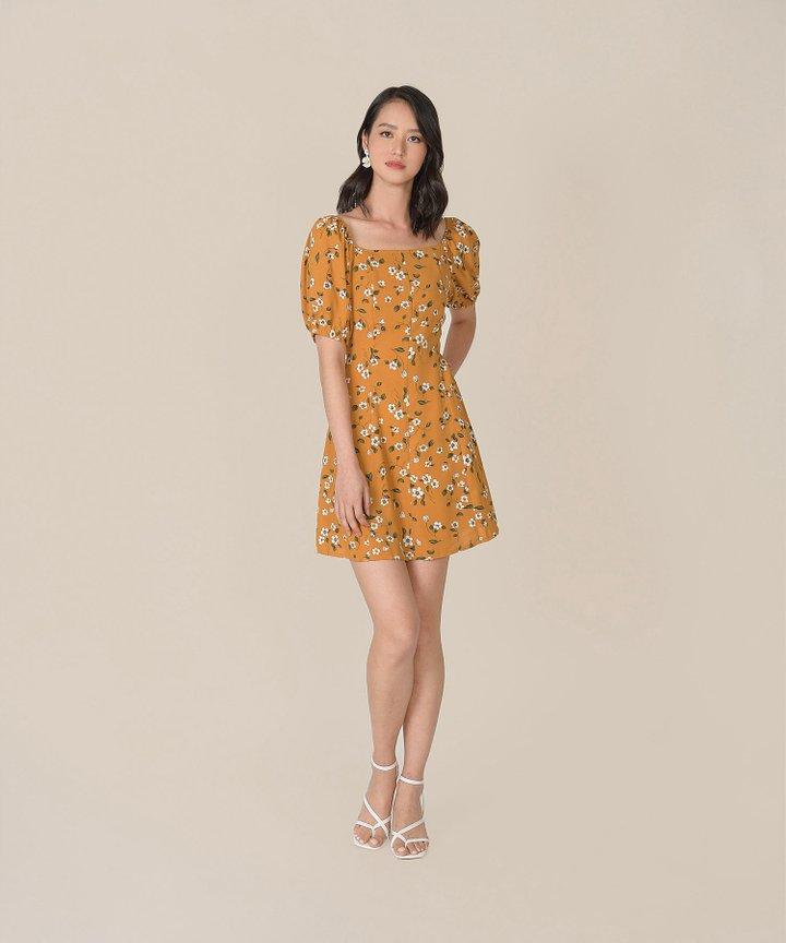 Ruth Floral Dress - Mustard
