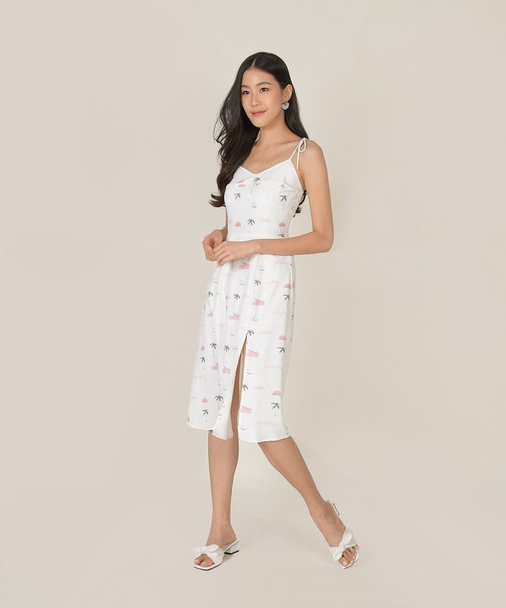 Seville Slit Midi Dress - White