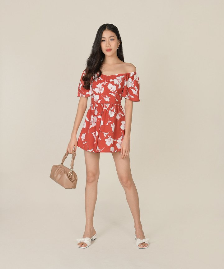 Splendour Floral Ruched Playsuit - Coral Red
