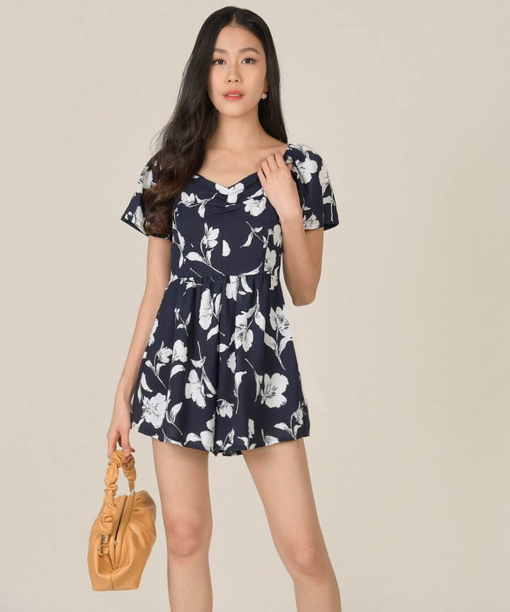 Splendour Floral Ruched Playsuit - Navy