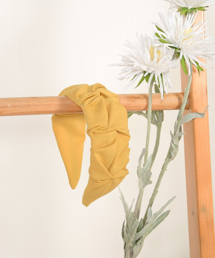 Astoria Ruched Hairband - Mustard
