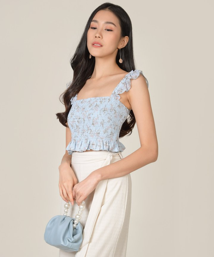 Bayberry Floral Smocked Top - Powder Blue