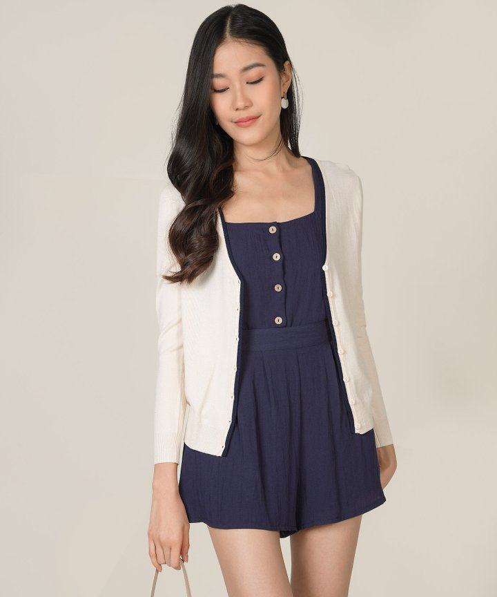 Chrissy Contrast Piping Cardigan - Cream