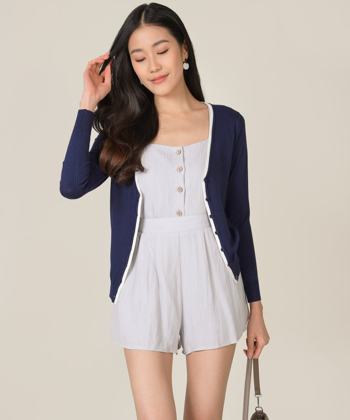 Chrissy Contrast Piping Cardigan - Midnight Blue