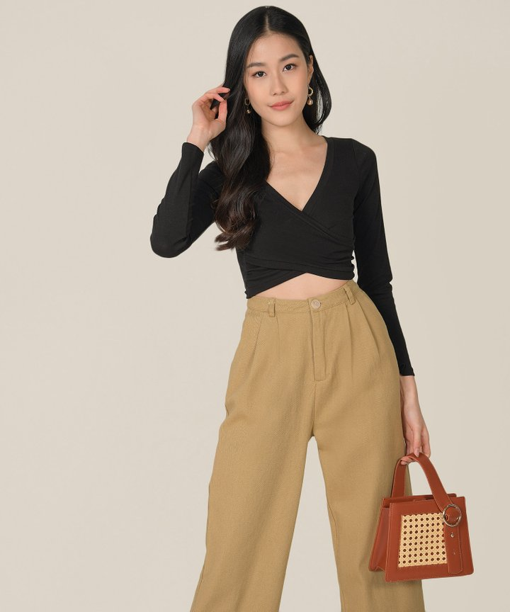 Clarion Wrap Cropped Top - Black
