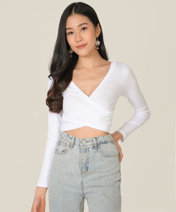 Clarion Wrap Cropped Top - White