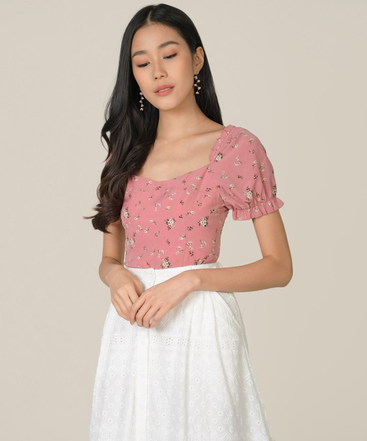 Helene Embroidered Midi Skirt - White