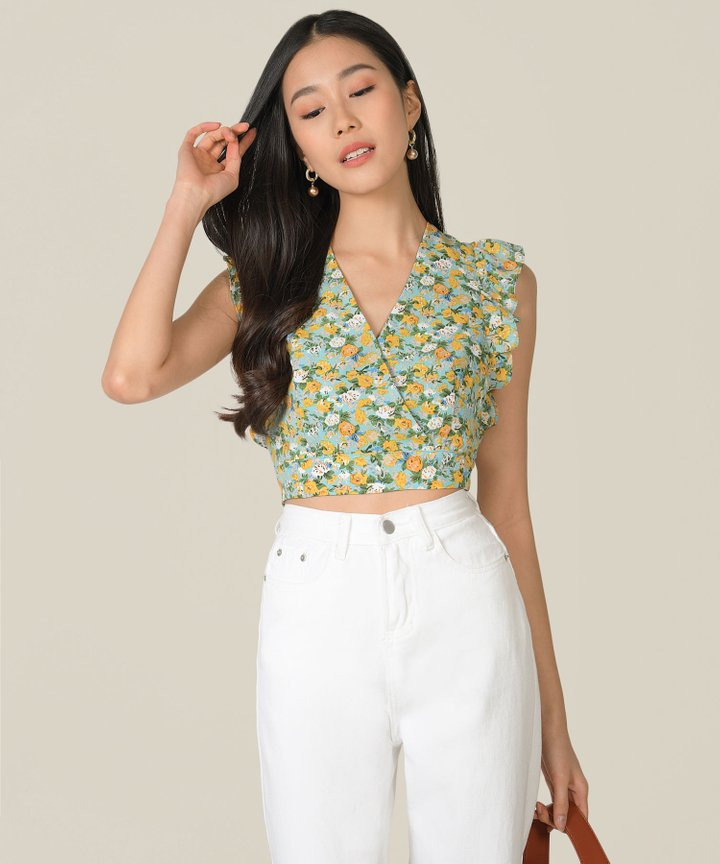 Horizon Floral Cropped Top - Turquoise