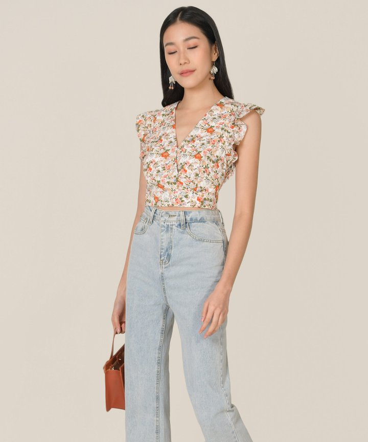 Horizon Floral Cropped Top - White