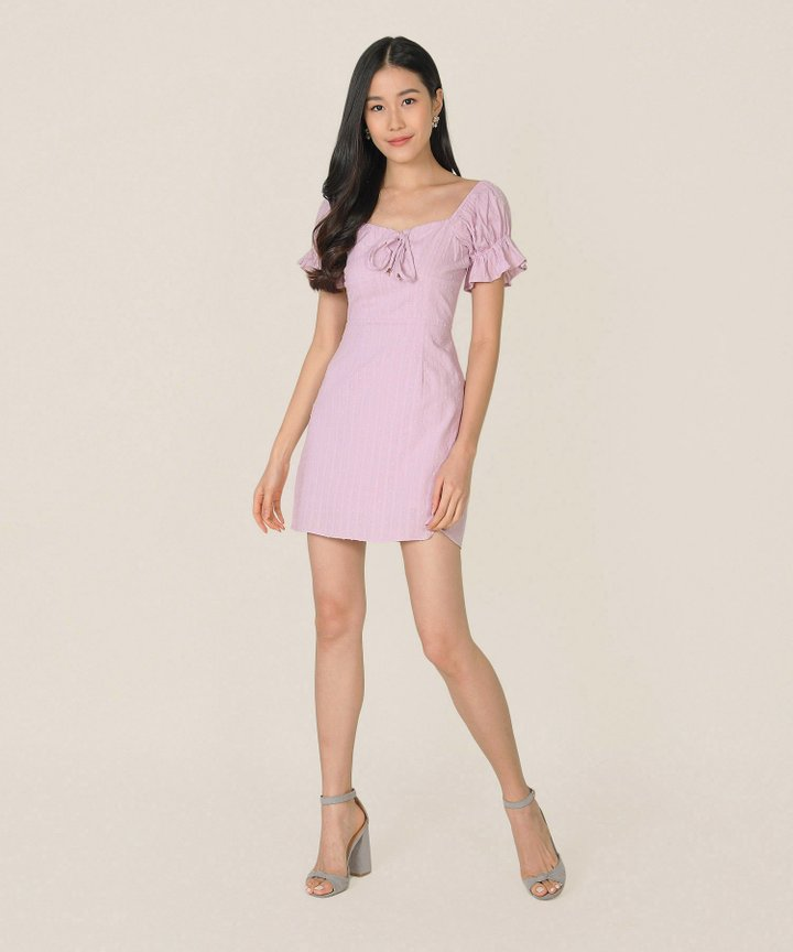Indra Swiss Dot Textured Dress - Pale Lilac