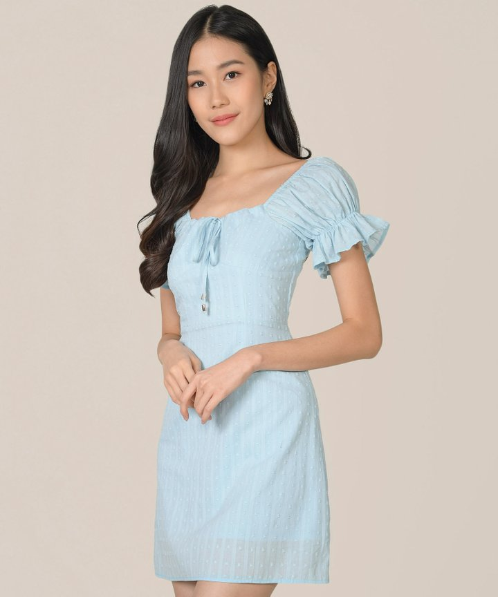 Indra Swiss Dot Textured Dress - Sky Blue