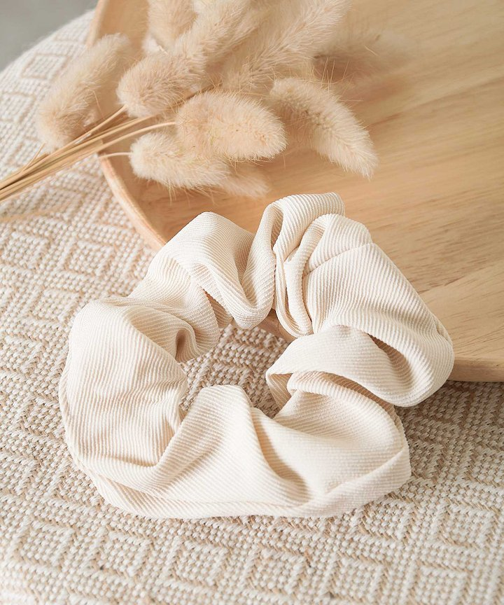 Isobel Textured Scrunchie - Ivory
