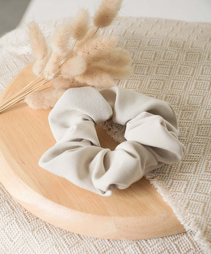 Isobel Textured Scrunchie - Sand