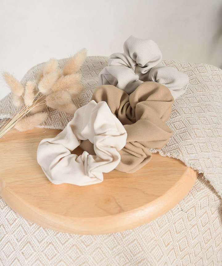 Isobel Textured Scrunchie - Tan