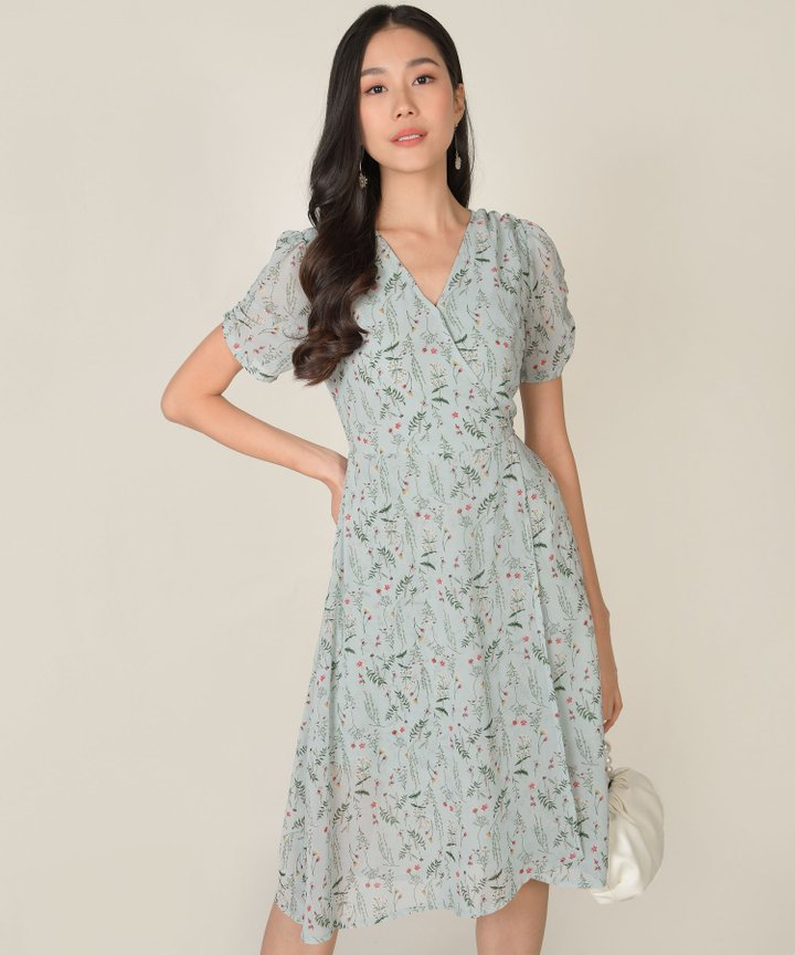 Roksana Floral Wrap Midi Dress - Spring Blue (Backorder)