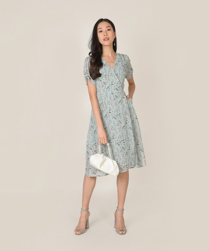 Roksana Floral Wrap Midi Dress - Spring Blue (Backorder)