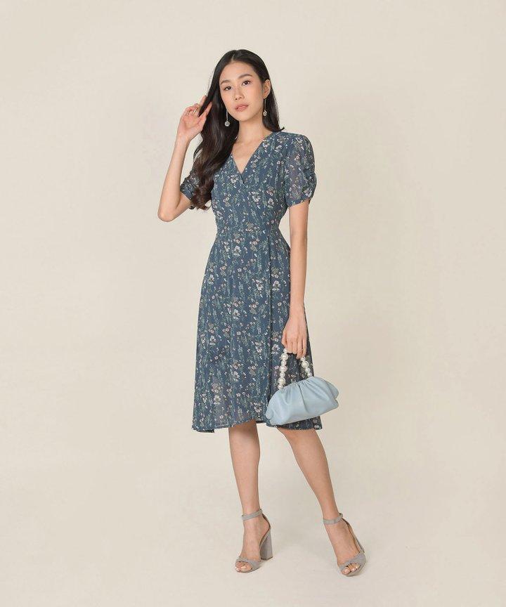 Roksana Floral Wrap Midi Dress - Teal Blue (Backorder)