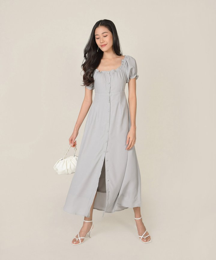 Roseville Button Down Maxi Dress - Cloud Grey