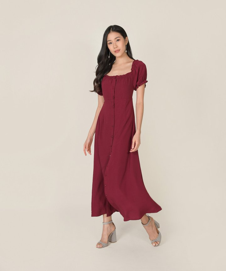 Roseville Button Down Maxi Dress - Pinot Noir