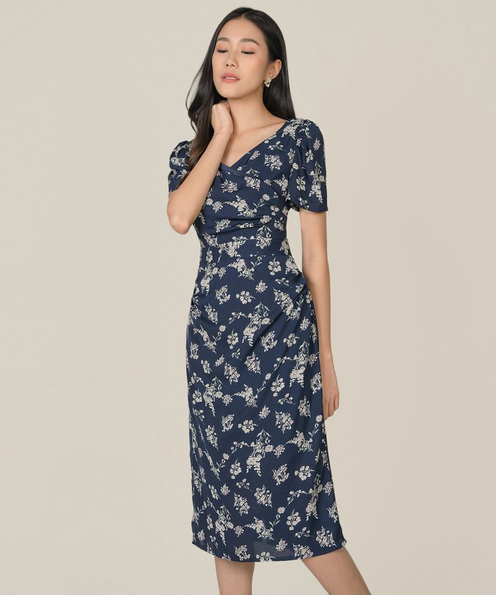 Roubelle Floral Overlay Midi Dress - Midnight Blue