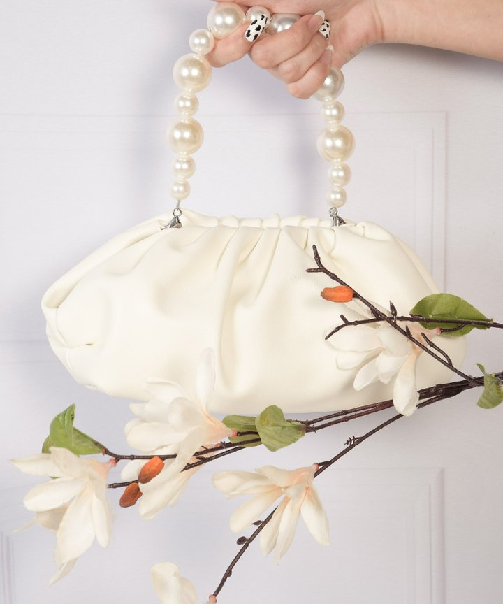 Sommar Pearl Handle Purse - White