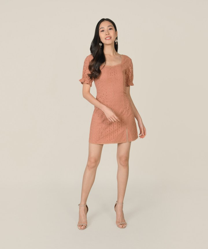 Vianna Eyelet Pouf-Sleeved Dress - Peach