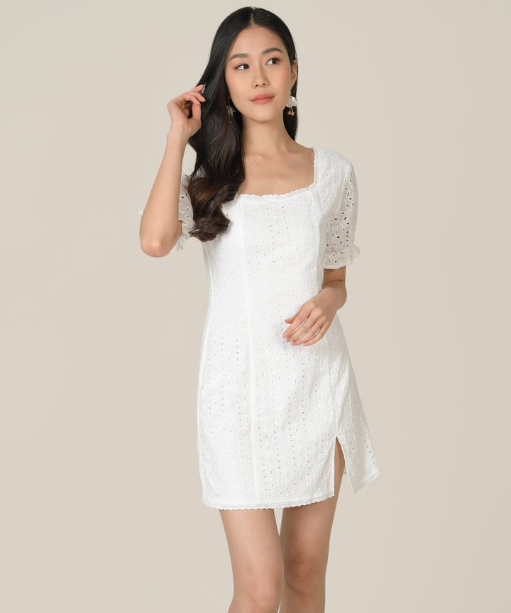 Vianna Eyelet Pouf-Sleeved Dress - White