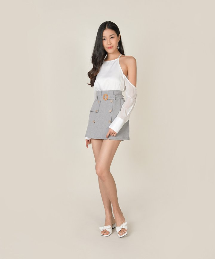 Avery Cold Shoulder Blouse - White