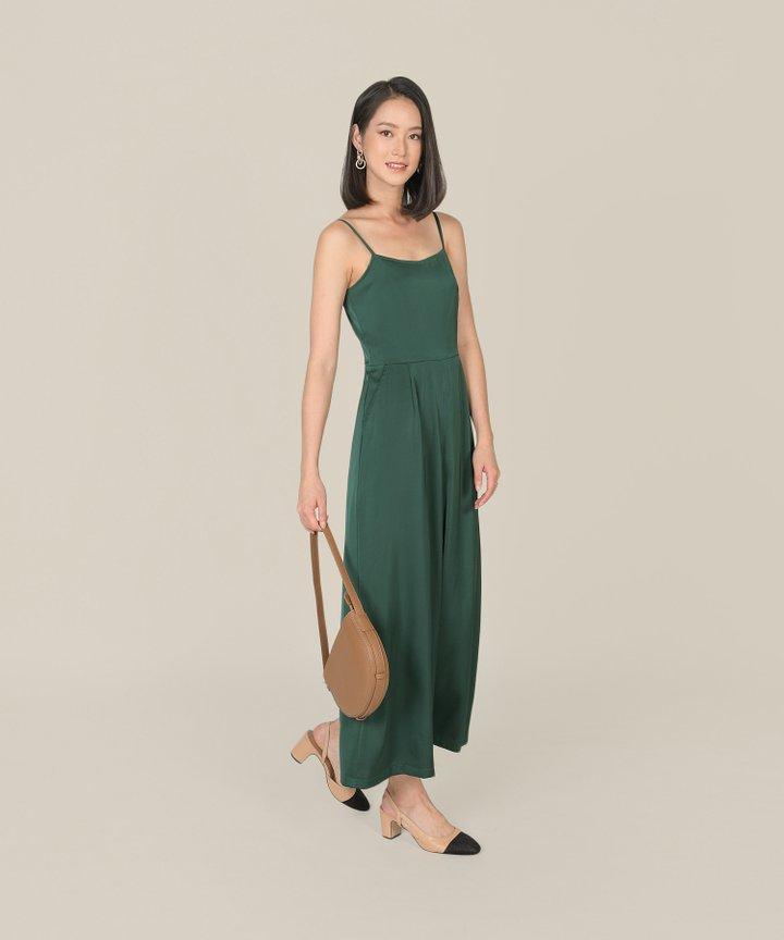 Glossier Satin Jumpsuit - Emerald