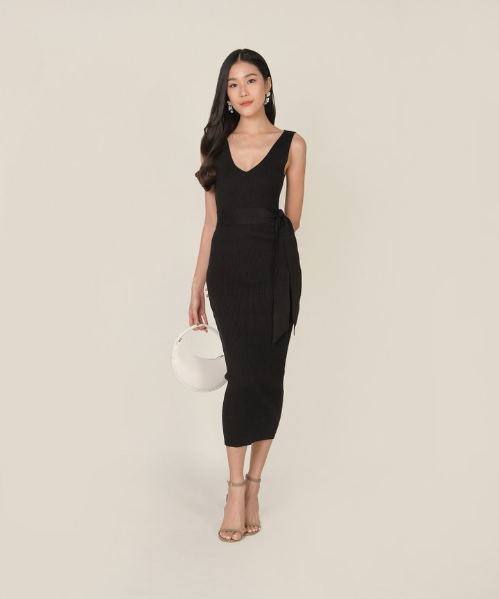 Keane Ribbed Knit Bodycon Midi Dress - Black